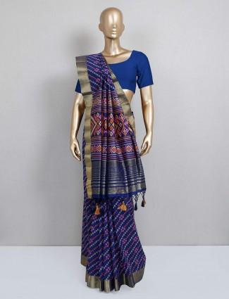 Festive wear navy blue colored cotton silk saree