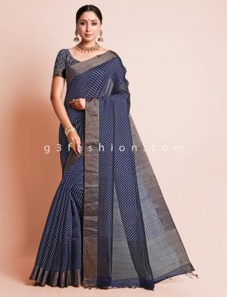 Festive wear navy blue saree for festive