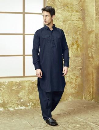 Festive wear navy color pathani suit