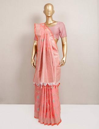 Festive wear orange semi silk festive saree