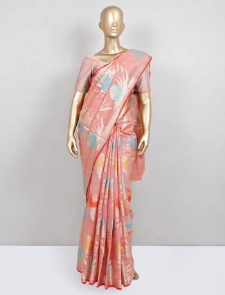 festive wear peach printed cotton saree