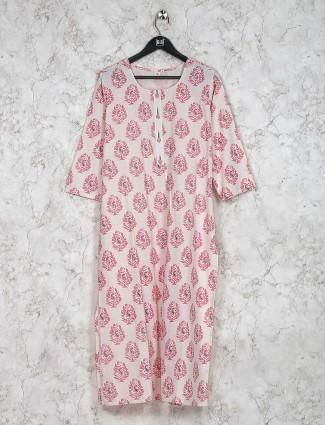 Festive wear pink color printed kurti set