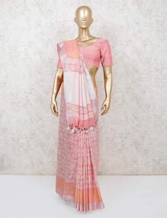 Festive wear pink cotton printed saree