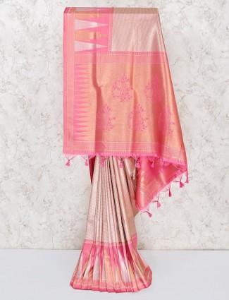 Festive wear pink saree in semi silk