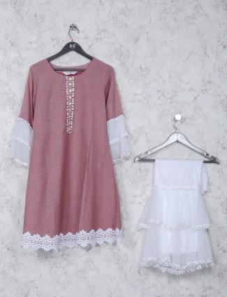 Festive wear pink solid cotton kurti set