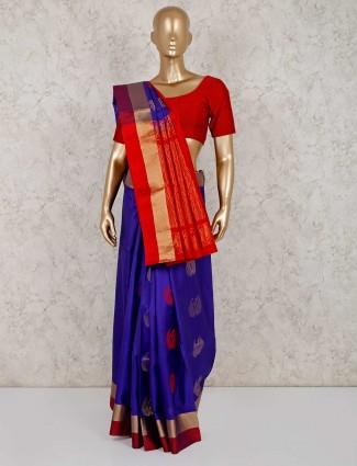 Festive wear purple south silk saree