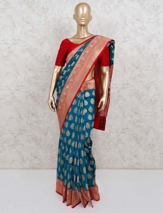 Festive wear rama green semi silk saree