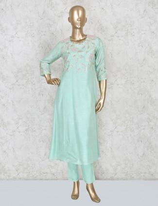 Festive wear raw silk punjabi suit in sea green