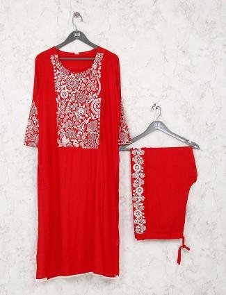 Festive wear red color kurti set in cotton