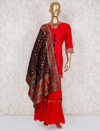 Festive wear red sharara suit in cotton silk