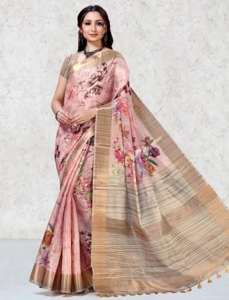 Festive wear saree in dusty pink