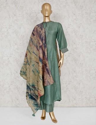 Festive wear solid green punjabi palazzo suit