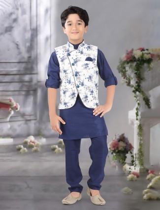 Festive wear white and navy terry rayon waistcoat set