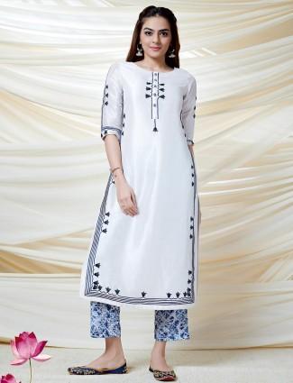 Festive wear white kurti in cotton silk