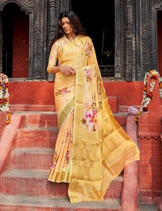 Festive wear yellow cotton silk saree