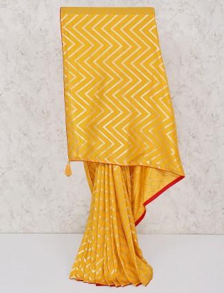 Festive wear yellow silk saree