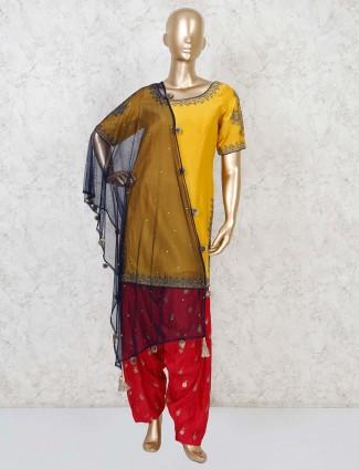 Festive yellow punjabi patiala suit in cotton silk
