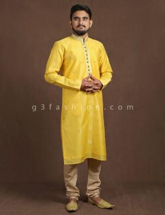 Festive yellow thread weaving kurta suit