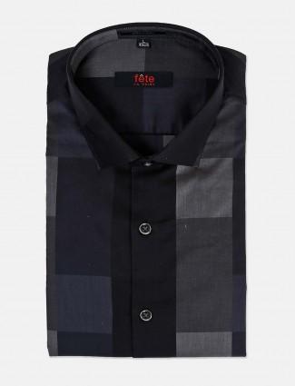 Fete checks black cotton mens shirt