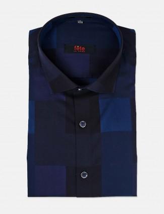 Fete presented navy checks shirt