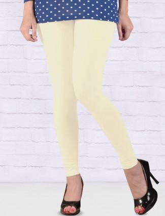 Go Colors off white cotton ankal length leggings