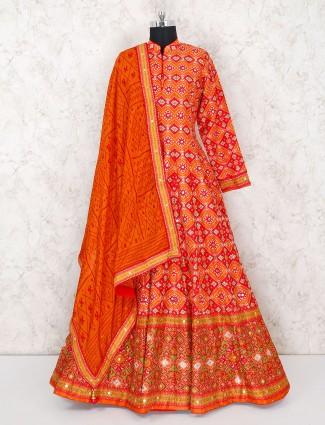 Floor length anarkali floor length salwar suit in orange