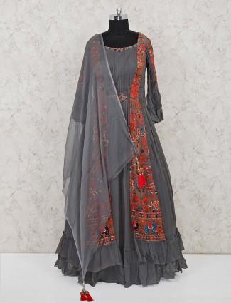 Floor length designer grey anarkali suit