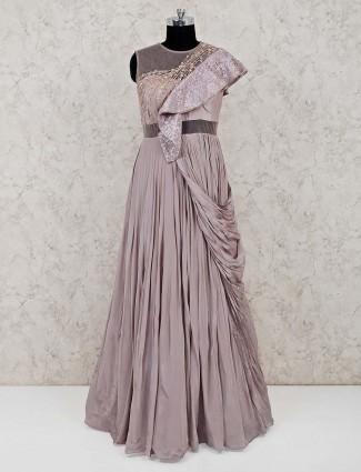 Floor length rose pink net gown