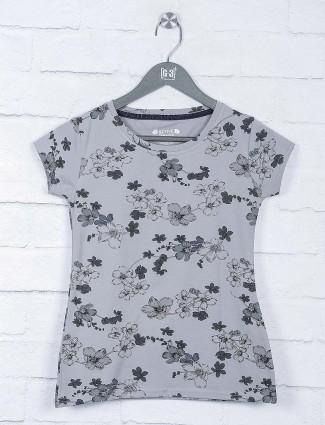 Flower printed grey color top