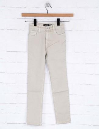 Forway beige denim fabric slim fit jeans