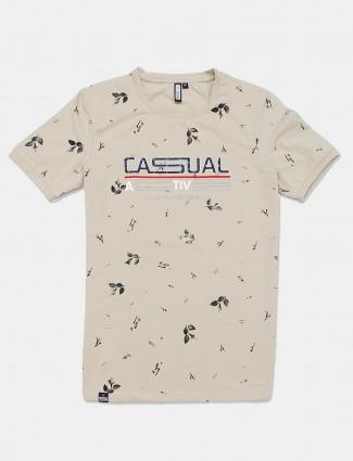 Freeze beige cotton slim fit mens t-shirt
