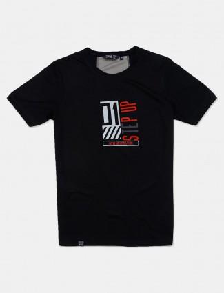 Freeze black printed cotton t-shirt