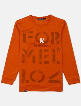 Freeze bright orange cotton printed sweatshirt