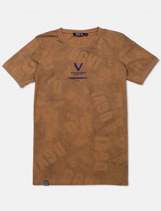 Freeze brown printed cotton t-shirt