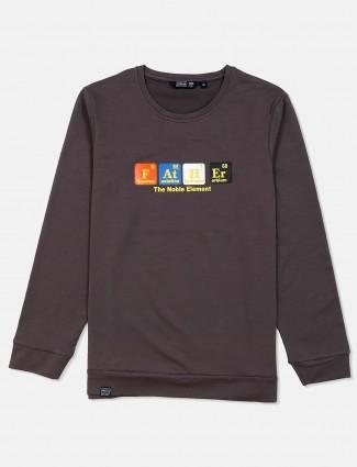 Freeze dark grey printed cotton sweatshirt