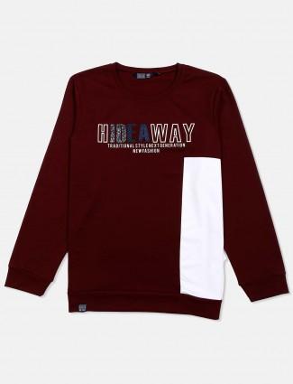 Freeze maroon printed full sleeves t-shirt