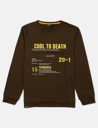 Freeze olive cotton printed sweatshirt