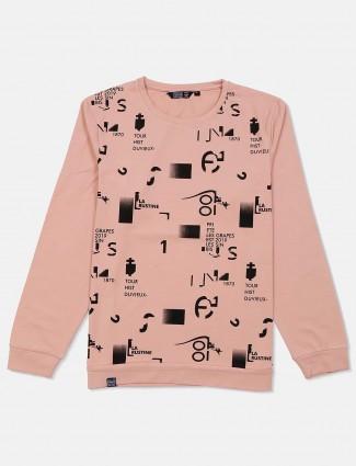 Freeze peach cotton printed sweatshirt