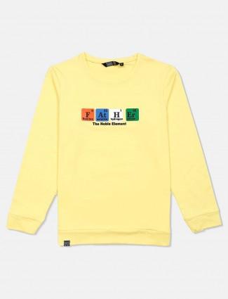 Freeze printed casual yellow sweatshirt