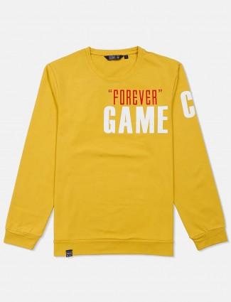 Freeze printed cotton yellow sweatshirt
