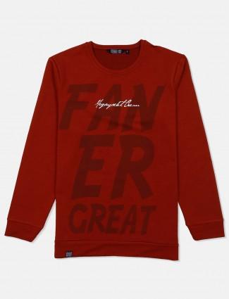 Freeze printed maroon casual sweatshirt