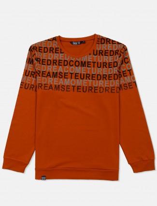 Freeze rust orange printed sweatshirt
