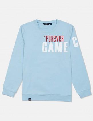 Freeze sky blue cotton printed sweatshirt