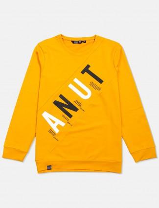Freeze yellow printed slim fit mens t-shirt
