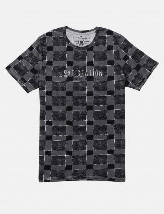 Fritzberg grey round neck checks t-shirt