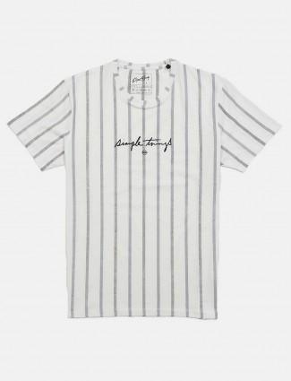 Fritzberg stripe casual white t-shirt