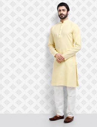 Full sleeves light yellow cotton fabric kurta suit