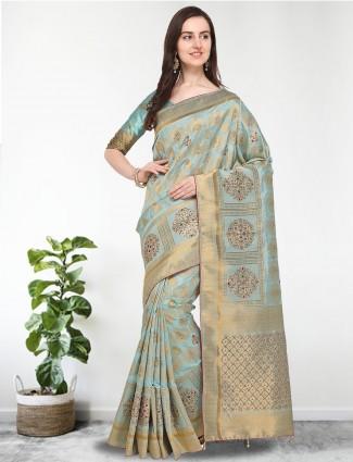 G3 Exclusive aqua hue banarasi silk saree