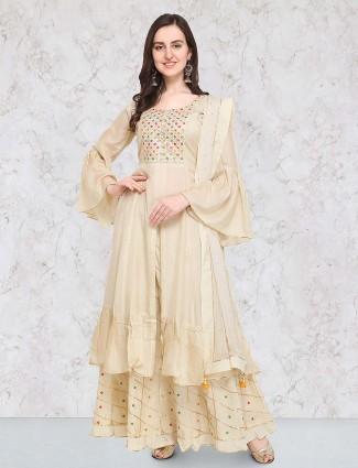 G3 Exclusive beige hue double layer salwar suit in cotton