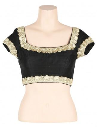 G3 exclusive black readymade raw silk sari blouse